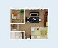 Clear 3d apartment floor plan interior design Stock Images