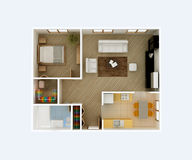 Clear 3d apartment floor plan interior design Stock Image