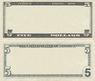 Clear 5 dollar banknote pattern. For design purposes Royalty Free Stock Photos