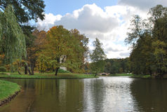 Clear autumn day in Tsaritsynsky park. In Moscow. Tsaritsynsky pond Royalty Free Stock Image
