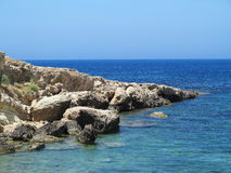 Clear azure sea water landskape and rocks near Crete coast, Gree Royalty Free Stock Image