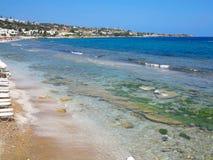 Clear azure sea water landskape and rocks near Crete coast, Gree Stock Photo