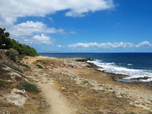 Clear azure sea water landskape and rocks near Crete coast, Gree Stock Images