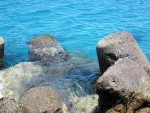 Clear azure sea water landskape and rocks near Crete coast, Gree Royalty Free Stock Photos