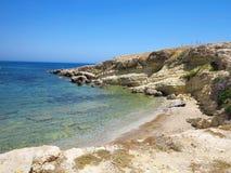 Clear azure sea water landskape and rocks near Crete coast, Gree Stock Photography