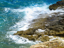 Clear azure sea water landskape and rocks near Crete coast, Gree Stock Image