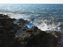 Clear azure sea water landskape and rocks near Crete coast, Gree Royalty Free Stock Photography