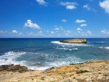 Clear azure sea water landskape and rocks near Crete coast, Gree. Ce Stock Photo