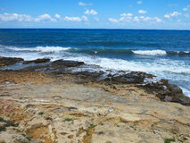 Clear azure sea water landskape and rocks near Crete coast, Gree Royalty Free Stock Images