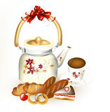 Clear   background with bakery, cup of tea and ornate teap Royalty Free Stock Image