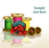 Clear background with thread, bows and needles Royalty Free Stock Photography