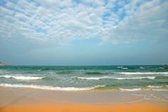 Clear Beach. Clear Tropical Beach on a cloudy day in Horizontal Stock Photography