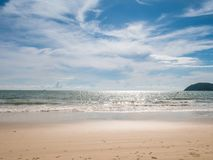 Clear Beach with Blue Sky and White Cloud. And no people doing activity in the beach royalty free stock images