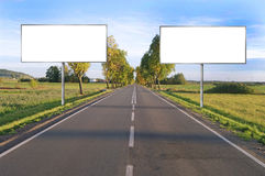 Clear billboard on Country Road Royalty Free Stock Photo