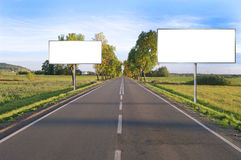Clear billboard on Country Road Royalty Free Stock Images
