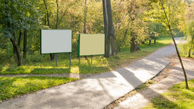 Clear billboards in  autumn forest Stock Image