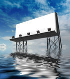 Clear billboards construction in water Stock Photos