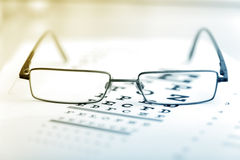 Clear Black modern glasses on a eye sight test Stock Images