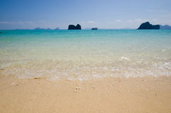 Clear blue beach in summer thailand. Small wave on clear beach with relaxing emotion in thailand stock photos