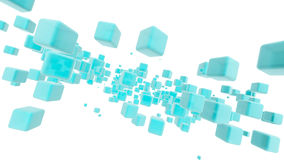 Clear Blue Cubes in Sapce Stock Photo