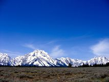 Clear blue day at Grand Teton National Park, Wyoming. Royalty Free Stock Photo