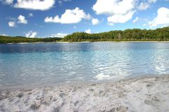 Clear Blue Lake McKenzie. White sand, clear blue waters of Lake McKenzie, Fraser Island, Australia Royalty Free Stock Images