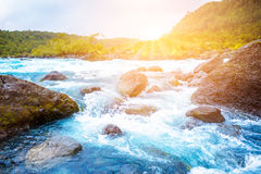 Clear blue mountain river Royalty Free Stock Photography