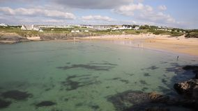 Clear blue sea in Cornwall at Treyarnon Bay England UK Cornish north coast between Newquay and Padstow stock video footage