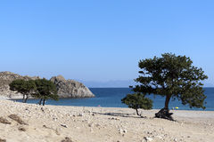 Clear blue sea of Pachia Ammos beach - Samothraki Stock Images