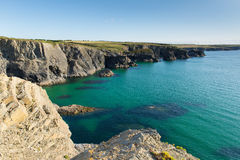 Clear blue sea UK coast in North Cornwall between Treyarnon and Porthcothan in summer Royalty Free Stock Photography