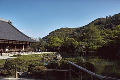 Clear blue skies over Tenryuji Temple royalty free stock photos