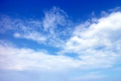 Free Clear Blue Sky And White Clouds Background, Cloudy Daytime Cyan Cosmos Banner, Cloudless Climate Wallpaper Stock Photography - 159734632