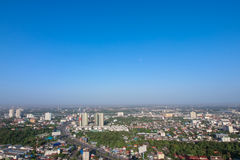 Clear blue sky as a background wallpaper, pastel sky wallpaper, with city scape Royalty Free Stock Photos