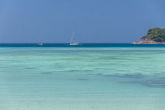 Clear blue sky with beautiful sea and boat Royalty Free Stock Photos