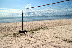 Clear Blue sky, Blue sea, beach, cloud, volleyball net Royalty Free Stock Images