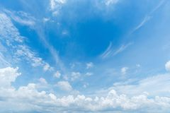 Clear blue sky with cloud background. stock photo