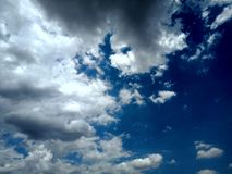 Clear blue sky with clouds. stock photo