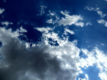 Clear blue sky with clouds. royalty free stock photo