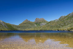 Clear blue sky at Cradle Mountain Stock Image