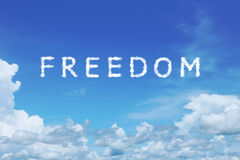Clear blue sky with freedom cloud text Royalty Free Stock Images