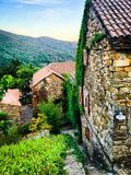 Clear blue sky in a French Ardeche village Royalty Free Stock Images