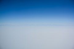Clear blue sky with horizon line. For background Royalty Free Stock Images