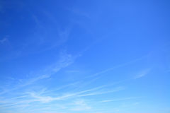 Almost clear blue sky. Photo background Stock Image