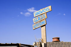 Snackbar signs on French beach Royalty Free Stock Photo