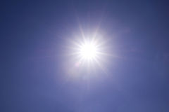 Clear blue sky sun light with Real Lens flare out of focus Royalty Free Stock Photography