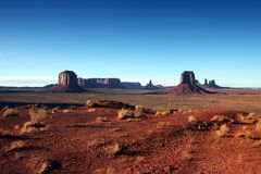 Clear Blue Sky View of Monument Valley stock image