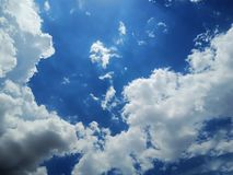 Clear blue sky with white cloud. stock photography