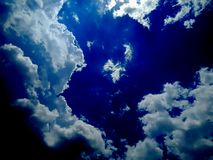 Clear blue sky with white cloud. stock image