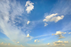Clear blue sky with white cloud (Wallpaper, background, artwork, abstract design) Royalty Free Stock Image