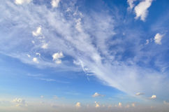 Clear blue sky with white cloud (Wallpaper, background, artwork, abstract design) Stock Photo